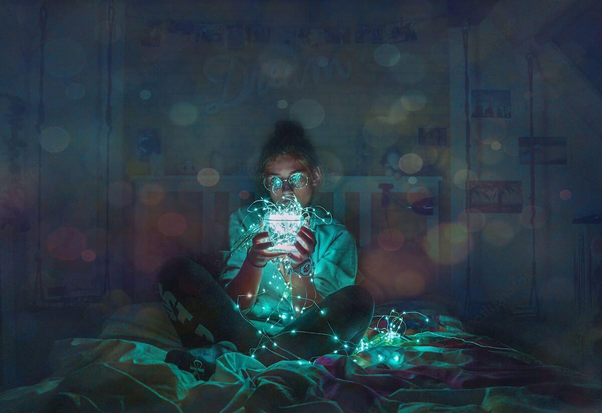Blaufilter Handy Licht steuert Schlaf